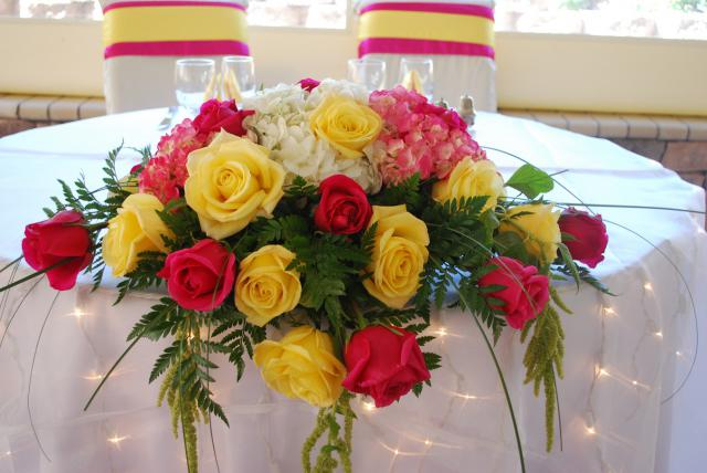 Crockett Wedding is Hot pink Roses and Yellow Roses everywhere