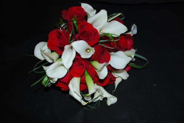 Cull Wedding Red Rose and White Calla Lily Bridal Bouquet