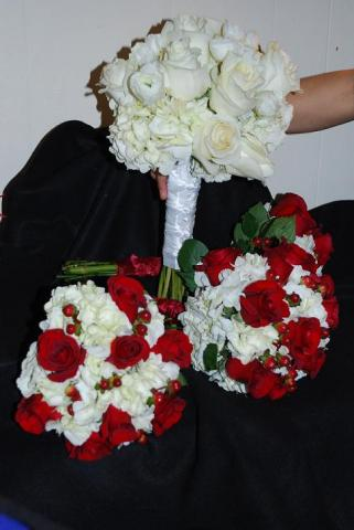 Hand held fresh flower brides party wedding bouquets on display
