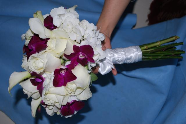 Riverside Ceremony White Roses and Purple Dendrobium Orchids